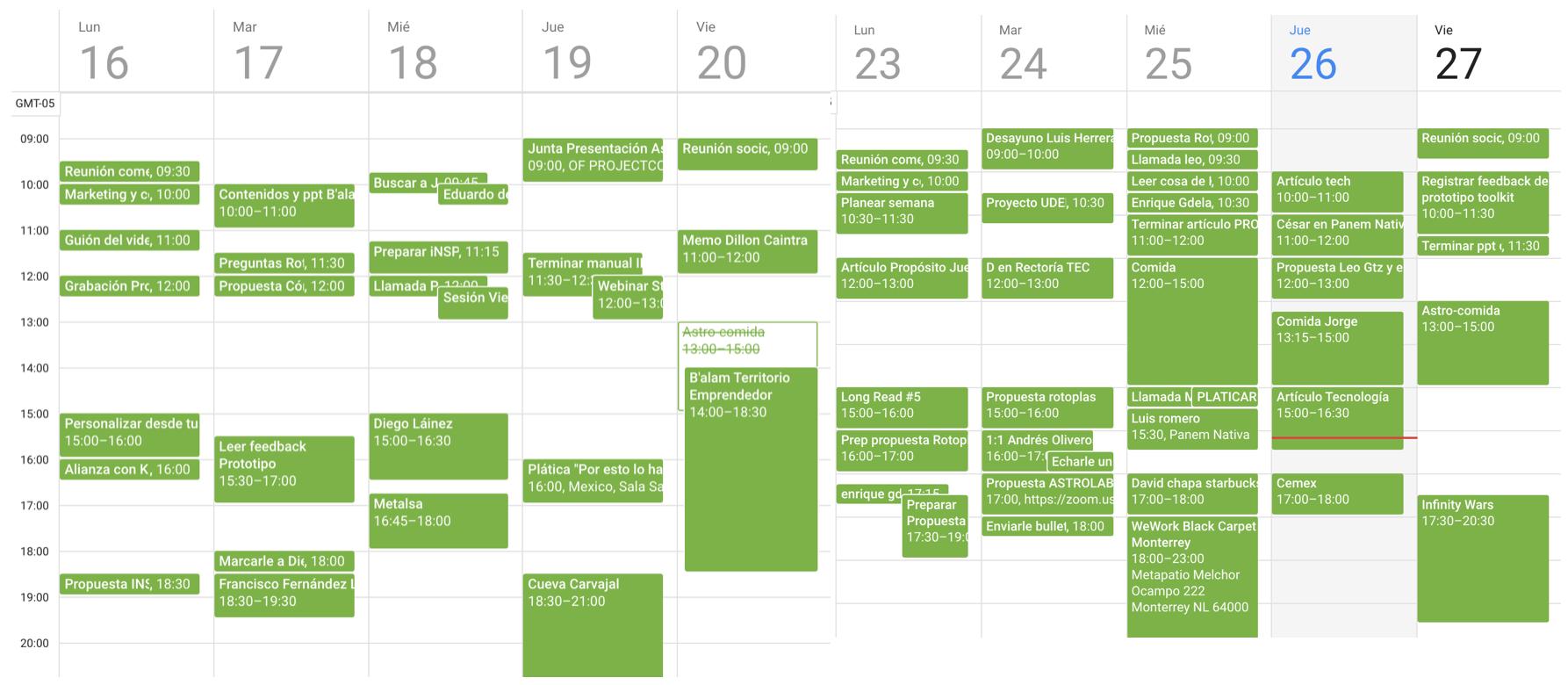Mi horario de la semana